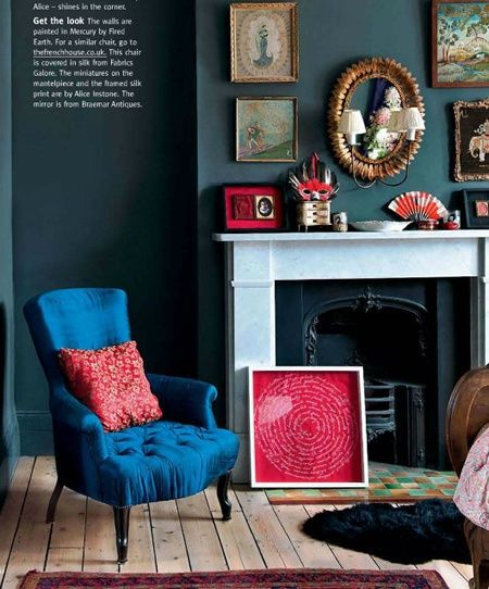 Dark Living Room with Teal, Pink, and Blue
