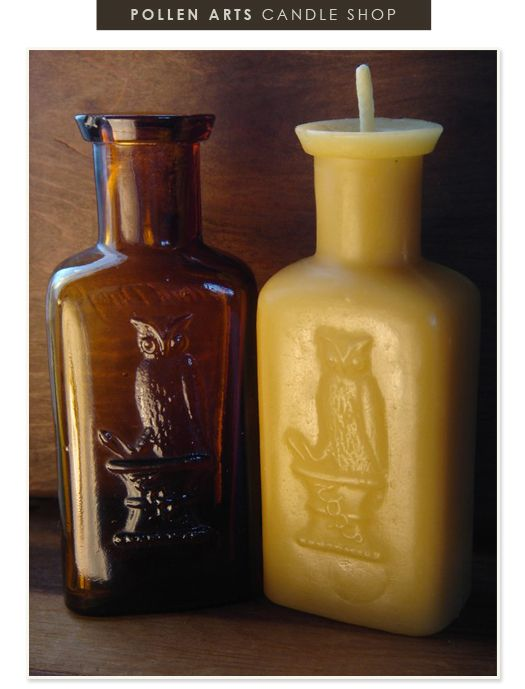 Pollen Arts beeswax candles, molded from vintage medicine bottles.