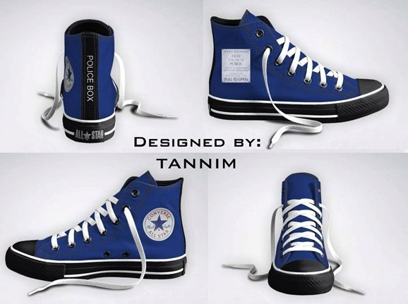 Doctor Who converse!!    I designed a pair after the TARDIS, but this has the phone door on it!  I wonder how!?!?
