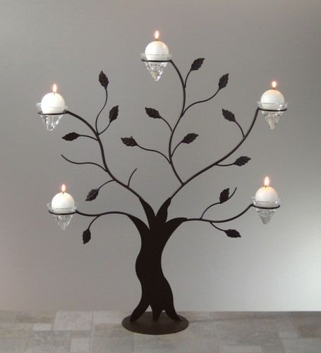 Tree Silhouette Candle Holder with 5 Conelets