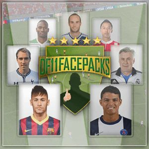 DF11's Football Manager Portrait Style Facepack  DF11 Faces Megapack comes in large size player pictures. The size is 260x310 compared to the default 180x180 FM14 player faces. The facepack features DF11's unique and stylish frame borders, which might give you a card feeling. Currently the megapack features pictures of players and staff from 67 completed leagues. You can enjoy DF11's portrait styled faces in 39 playable leagues WITH faces of players from lower leagues included.