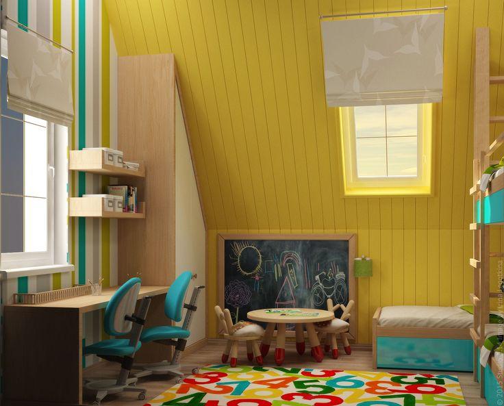 В комнате предусмотрена как зона для игр, так и рабочие места для учебных занятий.