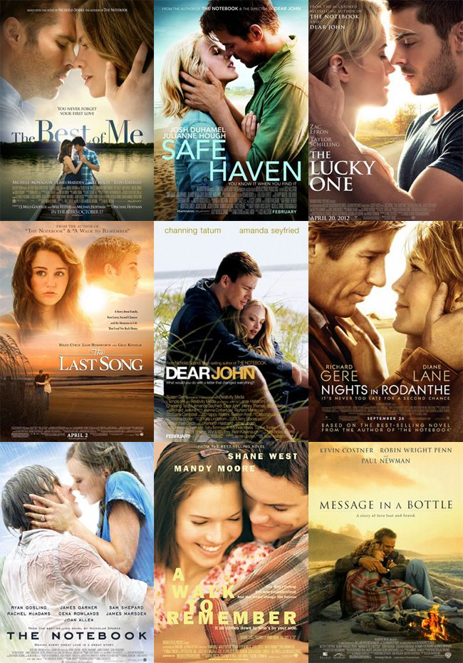 9 of the 11 Nicholas Sparks Movies,  not pictured - The Longest Ride and The Choice