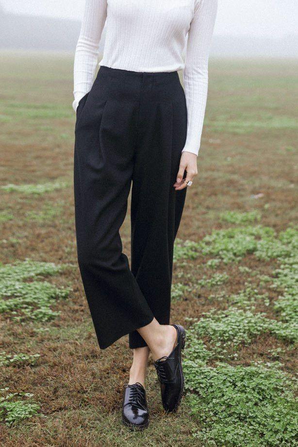 Crop Wool Knit Pants
