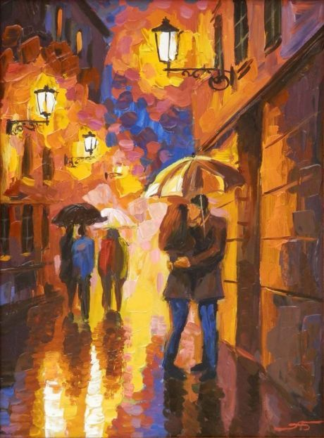 """Night. Strolling couples"" by Alexander Bolotov"