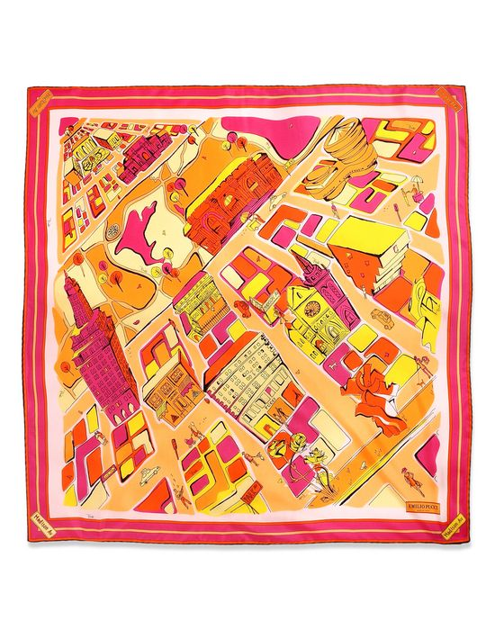 Scarf - New York Madison Avenue: An Exclusive Limited Edition Scarf From The Cities Of The World Collection, Depicting The Emilio Pucci Boutique On One Of New York's Most Upscale Neighbourhoods Seen From a Bird's Eye View, Complete With Notable Landmarks. The Motif, Hand Drawn In The Traditional Style By The Pucci Atelier, Mimics The Whimsical And Naïf Drawings Of Founder Emilio Pucci And Is Created In His Brilliant Signature Hues. The Boutique Address And An