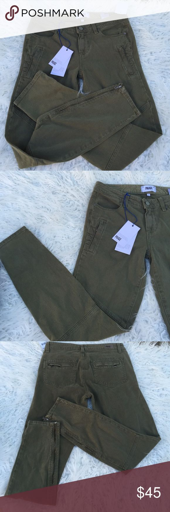 Paige jeans fatigue green Fatigue jeans. On sale due to the defect on the left foot zipper that needs repair. Very cute and stylish. Retail:178.00 Paige Jeans Jeans Ankle & Cropped