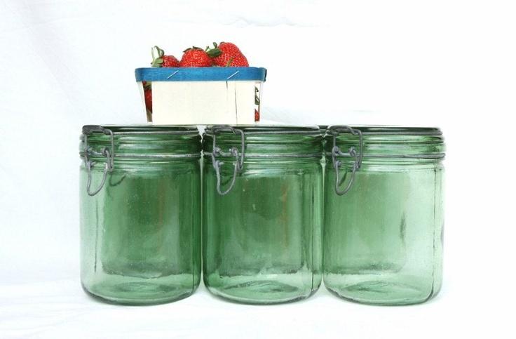 Reserved Eco friendly Farmhouse mason jar, large French green glass jar, kitchen storage jar, rustic kitchen, French country kitchen. $18.00, via Etsy.