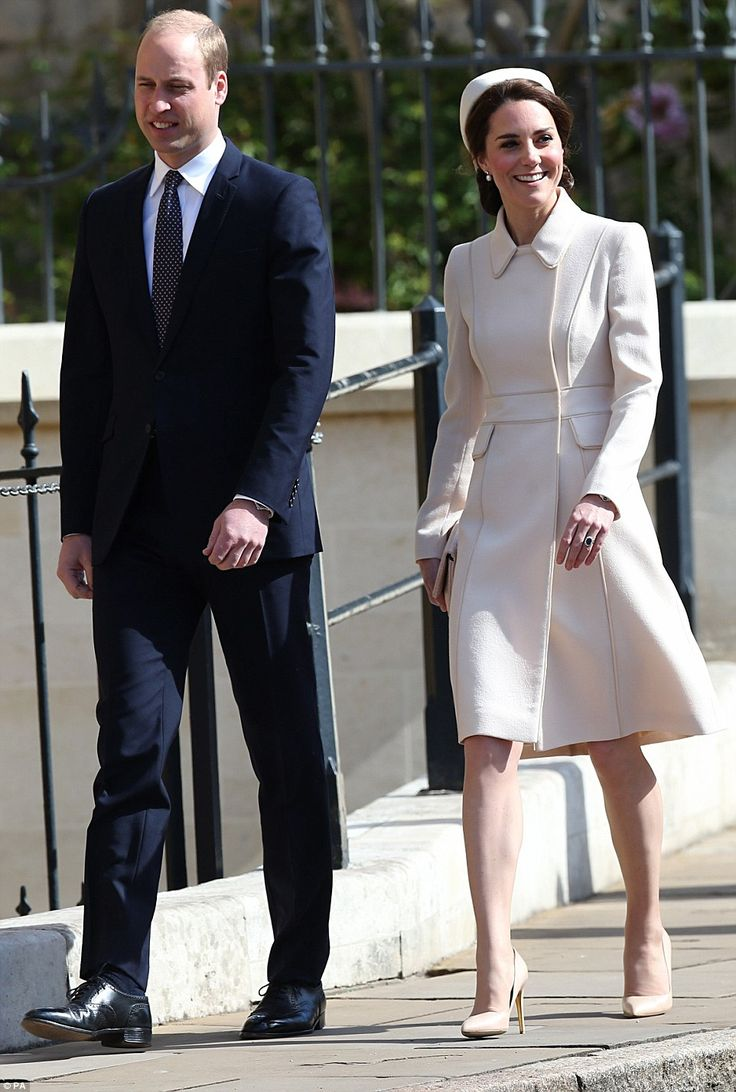 Beaming: The Duke and Duchess of Cambridge looked in excellent spirits as they walked to St George's Chapel this morning