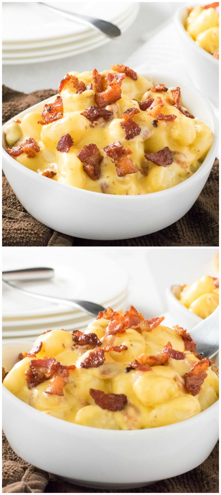 Gnocchi Mac and Cheese with Bacon - Make this for dinner and your family will go nuts!!