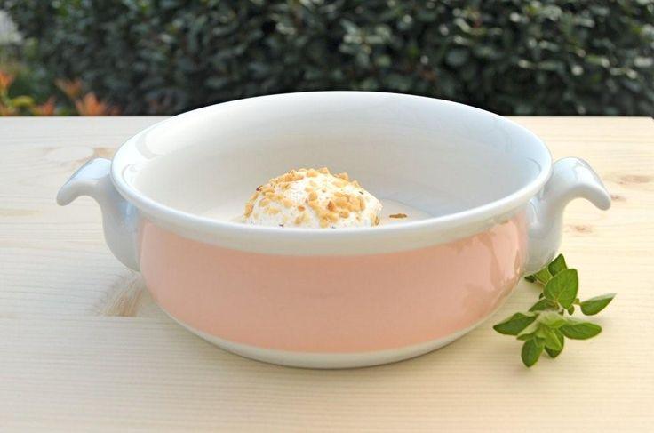 #Gelato #icecream servito in tegamino in porcellana, decoro Millecolori pastello, colore rosa cipria www.ancap.it