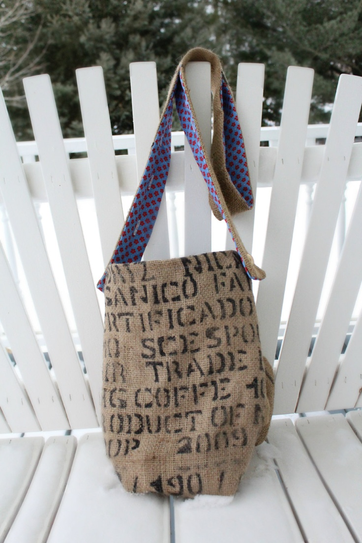 Burlap coffee bag crafts - Burlap Purse With Bow Adjustable Strap Coffee Bag Fully Lined With Vintage Blue And Red Flower Print