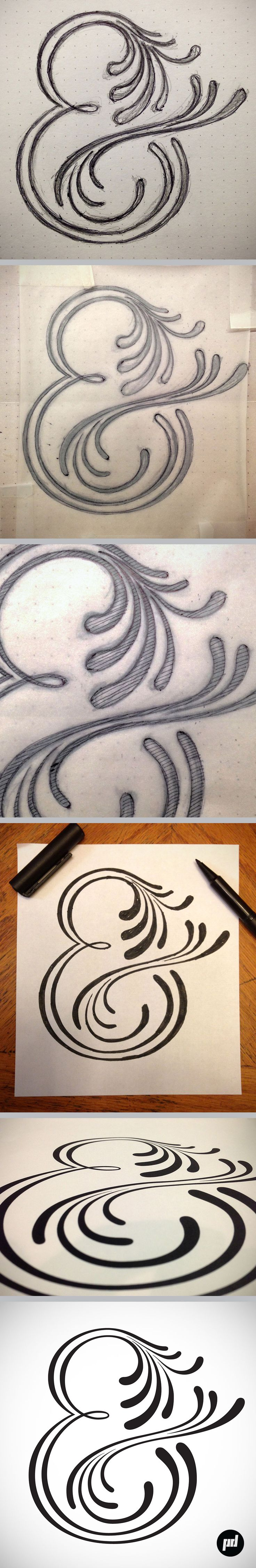 Amperos font, full process 4, hand lettered ampersand series, by Petre Spassov