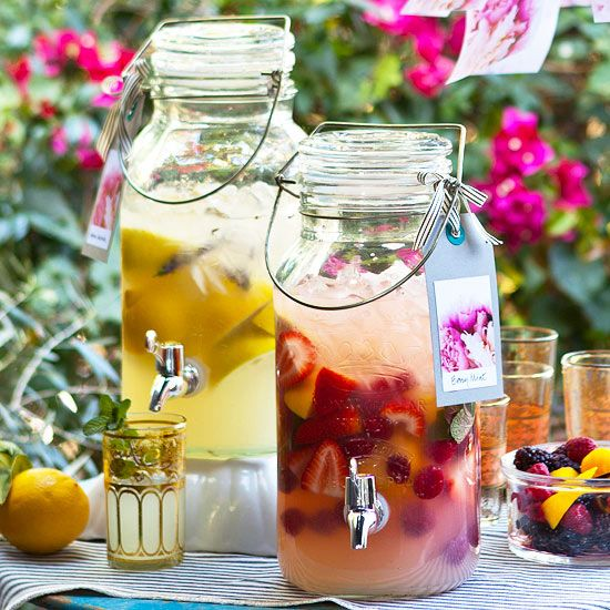This grown-up lemonade stand, where the drinks are infused with herbs and studded with fresh fruit, looks as good as it tastes. Float lemons, herbs, or strawberries in the pitchers to add color to your outdoor table. Labels also help guests preview their selection. Get a free set of labels featuring Amy's beautiful flower photos, below./