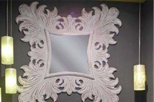 elegant baroque mirror white decape 120X120 cm #arredamento #casa #specchio #barocco #shabbychic #interiordesign #home #decor #barroque #mirror