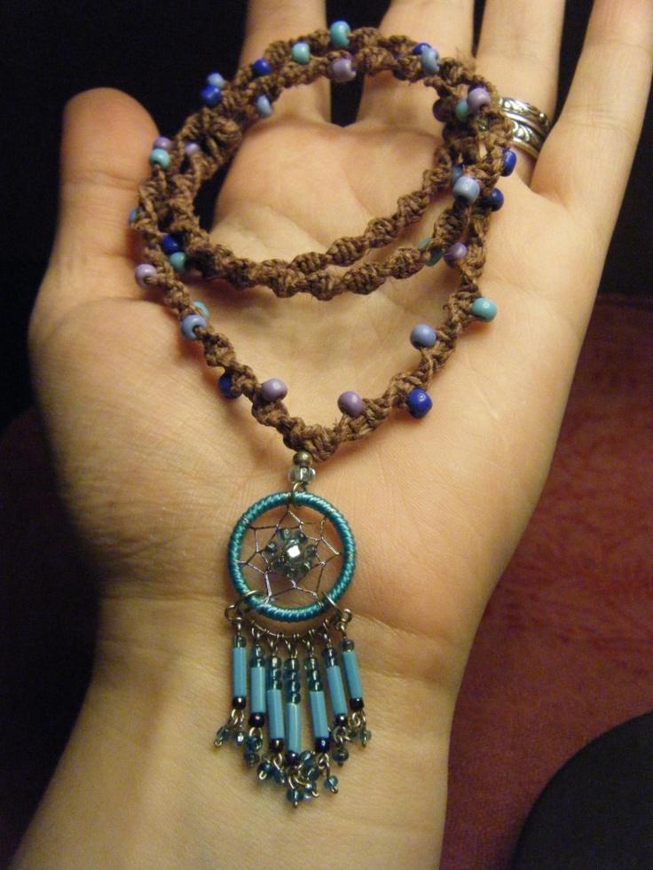 Blue Dream Catcher Necklace - Beaded Hemp Necklace - Handmade, Ready to Ship. $24.00, via Etsy.