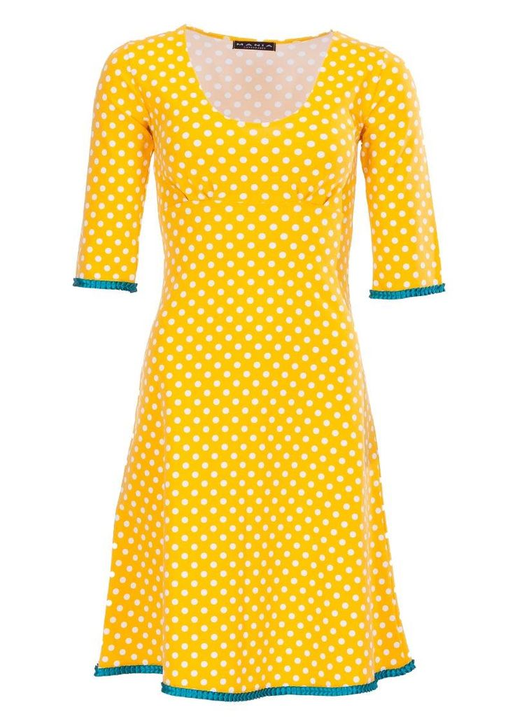 Flot prikket gul Mania Copenhagen kjole STELLA /yellow dot dress