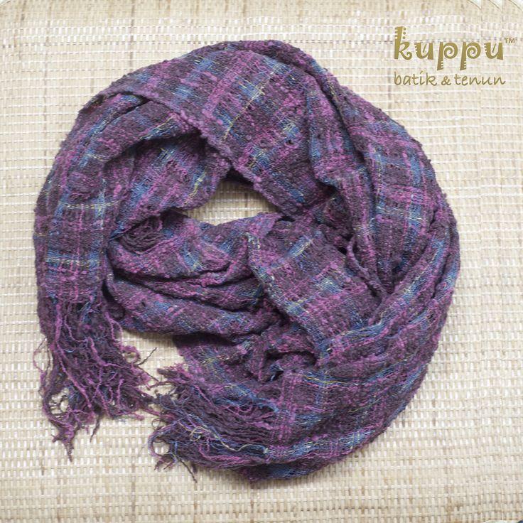 Setiap pembelian scarf cantik ini free Tuban pouch yaa..  . More info, bisa hub  Laura 08119103668 Pin BB 751E6162 Line ID kuppubatiktenun . SCARF BALI - MAGENTA GREY . By Kuppu Batik Tenun . 590,000.00 . A lovely natural-dye colours handmade weaving (tenun warna alam) from Bali, Indonesia for effortless stylish look everyday - Magenta grey color - 190x55 cm (LxW) . Get a cute natural-dye tenun gedog Tuban pouch for free .