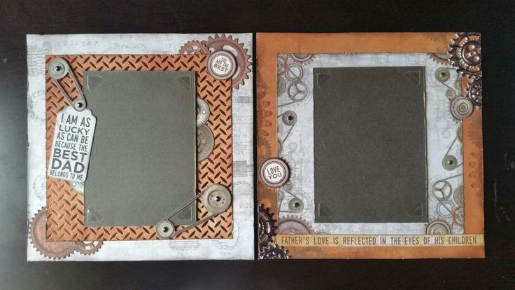 8 inch pages for a mini scrapbook made using Kaisercrafts Factory 42 By Roxanne Smith