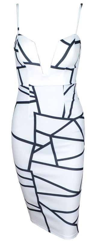 Sexy deep V-neck geometric dress. Run true to size.