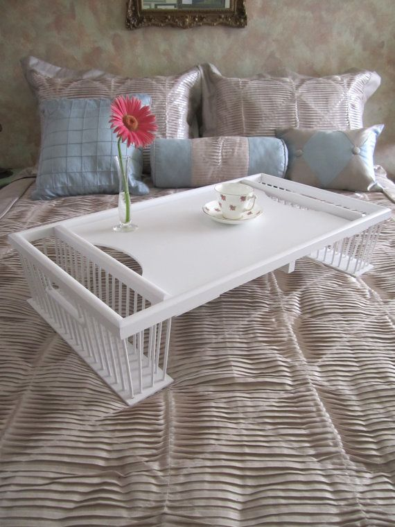 Vintage Wooden Wicker Rattan Large SERVING BED TRAY Shabby ChicCountry CottageBeach Cottage