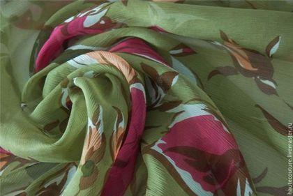 Креш-шифон Valentino - хаки,зеленый,именные ткани,натуральные ткани,шелковые ткани