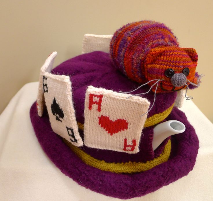 Wonderland felted tea cosy with Cheshire Cat
