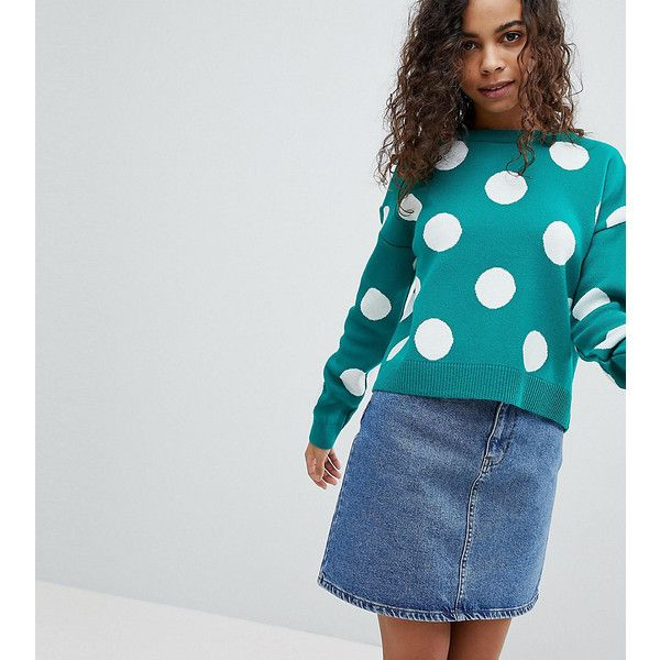 ASOS PETITE Jumper With Spots (€32) ❤ liked on Polyvore featuring tops, sweaters, green, petite, green top, green crew neck sweater, crew-neck sweaters, asos jumpers and green jumper