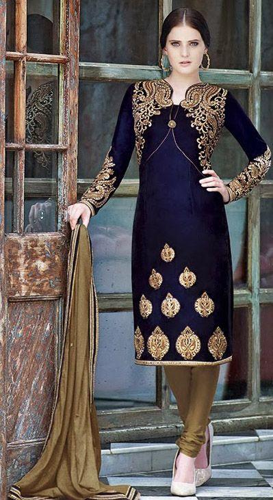 USD 137.67 Blue Embroidery Velvet Designer Salwar Suit 28426