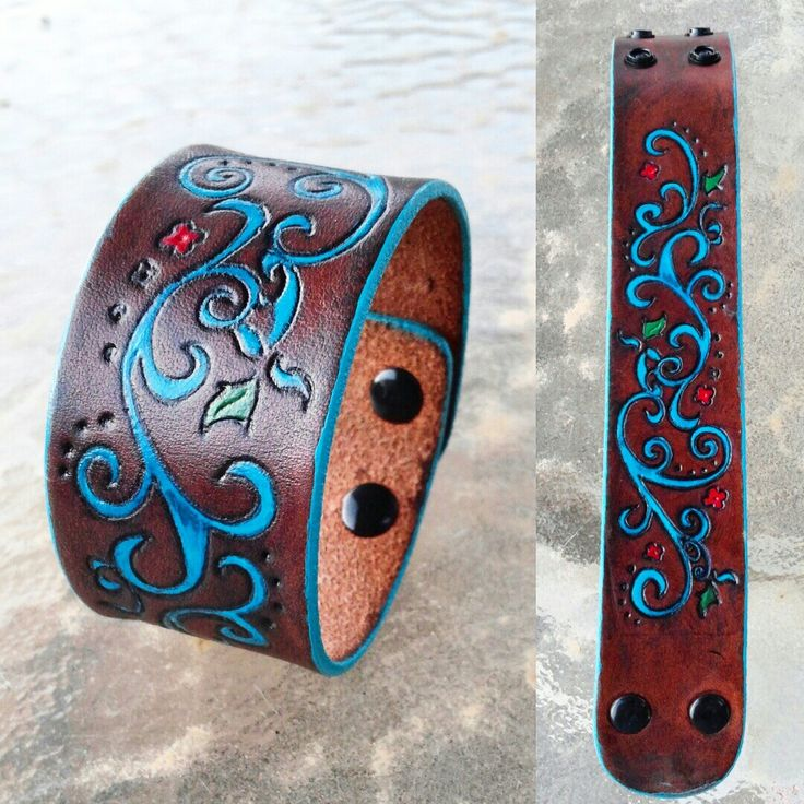 Hand painted leather cuff, lightly tooled design (no carving)