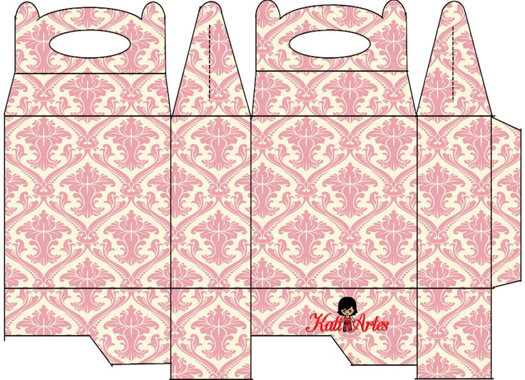 Pink Damasks Free Printable Lunch Boxes.