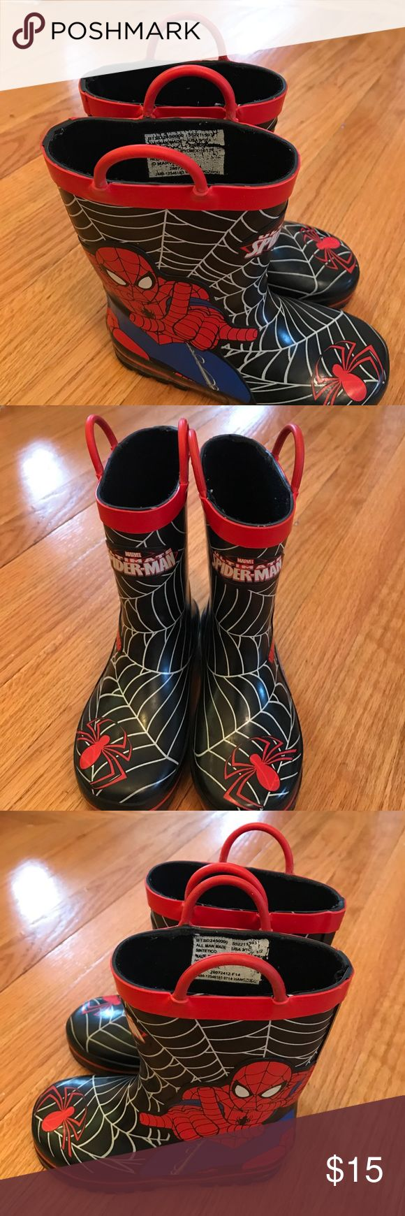 Selling this Boy's Spider Man Rain Boots Size 9/10 Toddler on Poshmark! My username is: volley4kix. #shopmycloset #poshmark #fashion #shopping #style #forsale #Marvel #Other