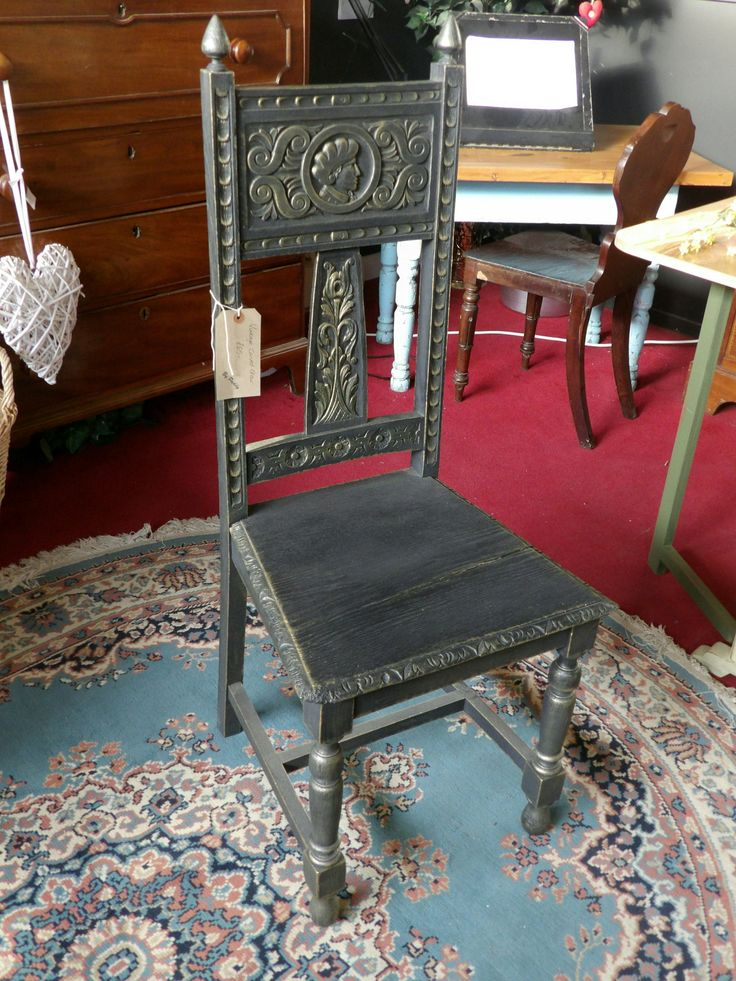 Black & gold carved bedroom chair £30, painted by the RGFs Restoration Team with beautiful detail showing through, Please call for more details or to purchase on 01903 753377