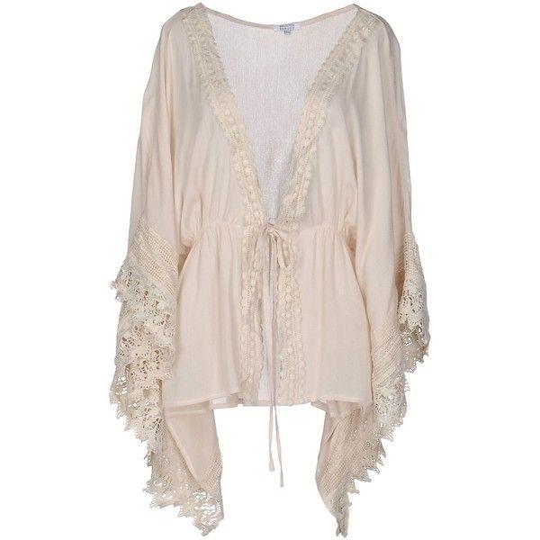 Brigitte Bardot Cardigan ($95) ❤ liked on Polyvore featuring tops, cardigans, beige, v-neck tops, pink top, lightweight cardigan, v-neck cardigan and pink lace cardigan