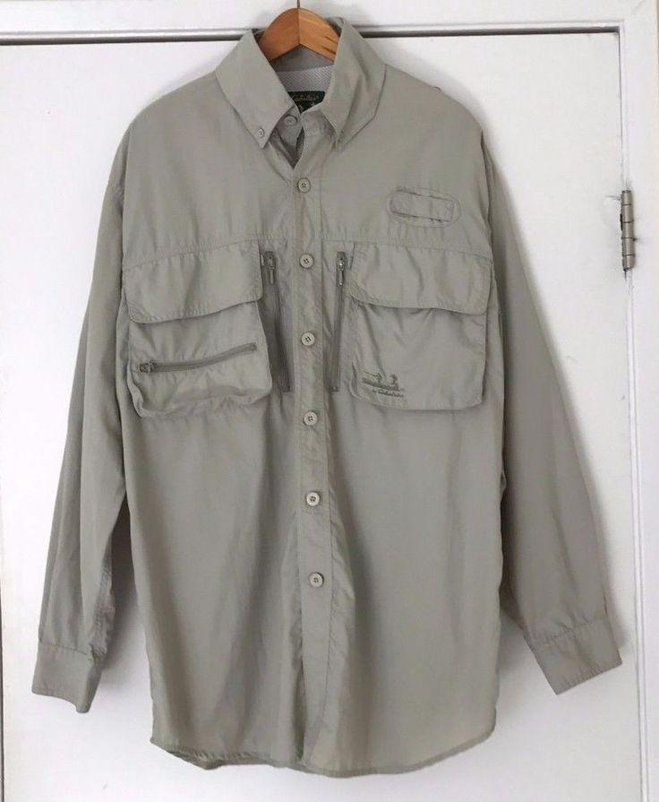 Cabela's Guidewear Long Sleeve Fishing Shirt M Green  UPF Raiting 50 100% Nylon #Cabelas #ButtonFrontShirt