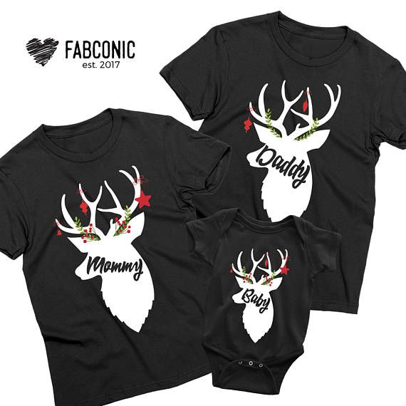 Mommy Daddy Baby Shirts Deer Family Shirts Christmas Family