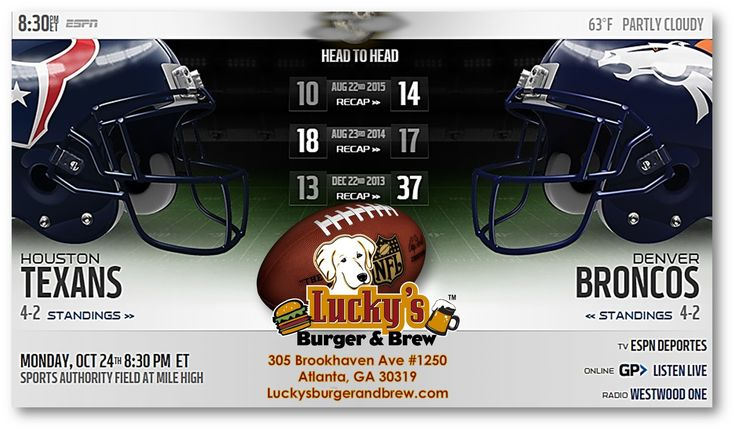 """Happy Monday! Lot's happening TODAY at Lucky's Burger & Brew Brookhaven:  #EarlyVoters bring your """"I Voted"""" sticker for a #FreePBR  #WineMondays Half Price bottles every Monday at Lucky's  Monday Night Football TONIGHT 8:30pm Houston Texans at Denver Broncos! LOT'S of reasons to #MondayGoLuckys  And don't forget to try our #BurgeroftheMonth : The Fall Harvest Burger topped with #PumpkinPie Aioli!"""