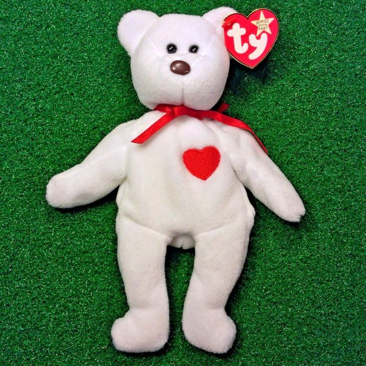 Truly Rare Valentino Bear Ty Beanie Baby 1993 WHITE STAR PVC Canadian Tush MWMT