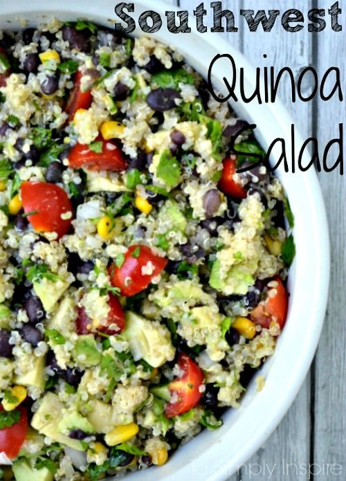 Loaded with flavor, this Southwest Quinoa Salad is a fabulous side dish or meal as itself. Add grilled or baked chicken for added protein.