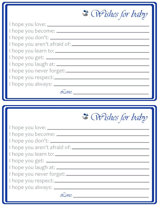 "Whale Themed ""Wishes For Baby"" Printable Baby Shower Activity - Threaded Together"