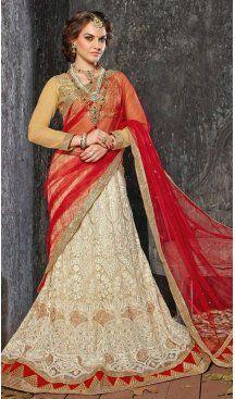 Beige Color Jacquard Silk A Line Style Lehenga Choli | FH586586340