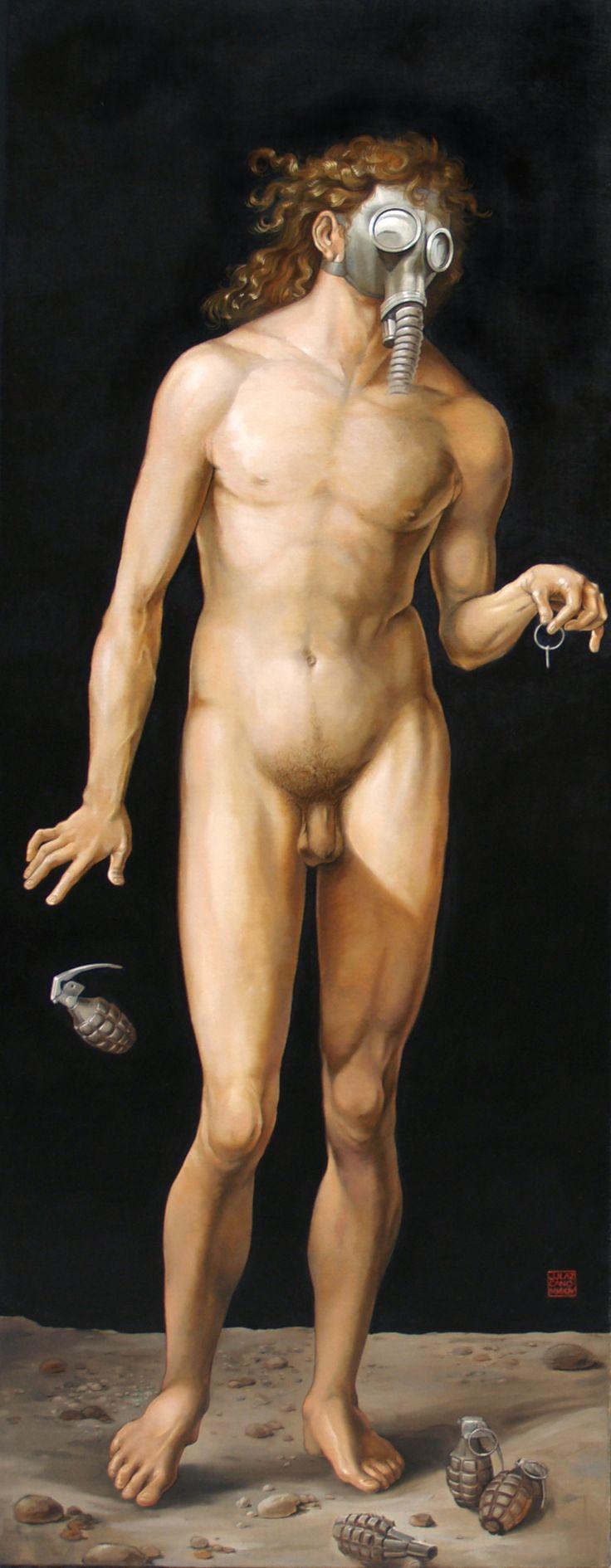Adan oleo-arpillera-tabla (70 x 182)cm.