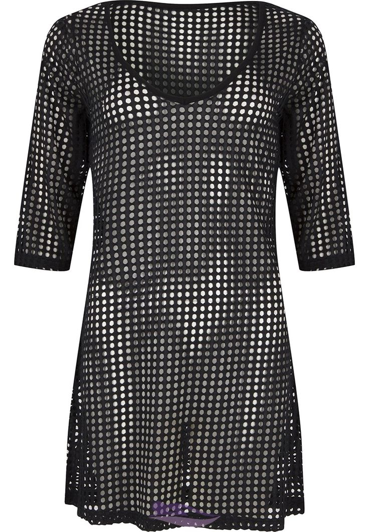 Pastunette Beach black hollow mesh beach cover -up - Ideal for holidays & fun in the sun!