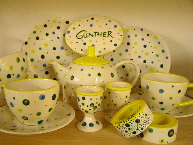 Hochzeitsgeschenk. Hochzeitsservice. Keramik handbemalt.