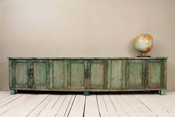 Long and Low Reclaimed Antique Sideboard Media Console TV Stand Buffet Warm Industrial Farm Chic Green Indian Furniture