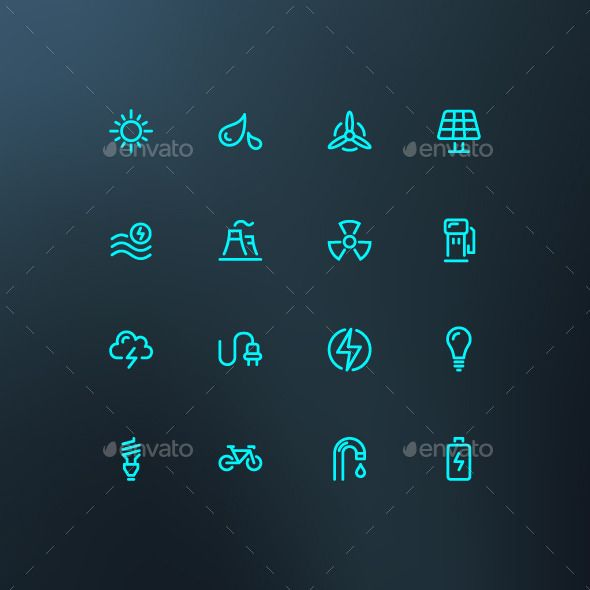 Energy Icons — Photoshop PSD #gas #wind • Available here → graphicriver.net/…