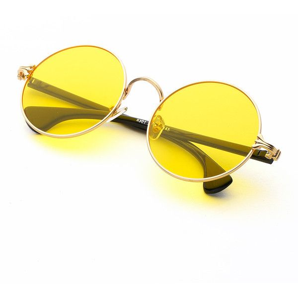 SheIn(sheinside) Two Tone Frame Round Sunglasses (106.390 IDR) ❤ liked on Polyvore featuring accessories, eyewear, sunglasses, two-tone sunglasses, round sunglasses, two tone glasses, yellow glasses and round frame sunglasses