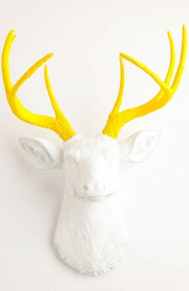 The Baron   Stag Deer Head   Faux Taxidermy   White w/ Yellow Antlers