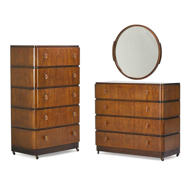 Donald Deskey Mirror And Dressers Two Usa 1930s Walnut