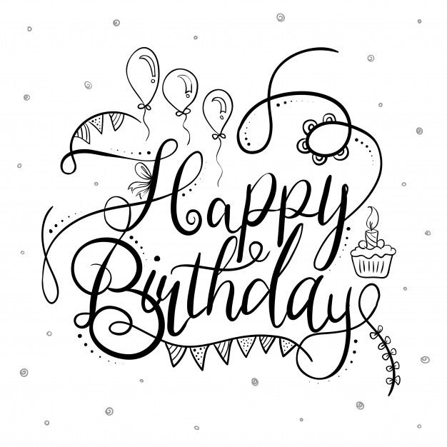 Download Black And White Happy Birthday Typography For
